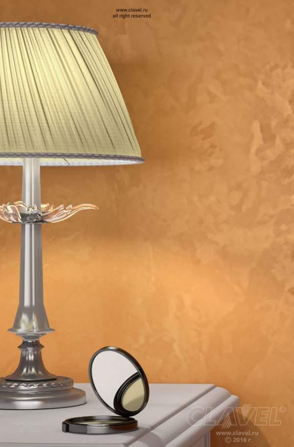 Декоративное покрытие с эффектом бронзового шелка - фото в интерьере. Спальня