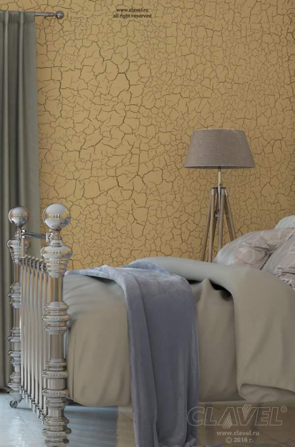 Спальня. Отделка стен в стиле кракелюрных трещин.