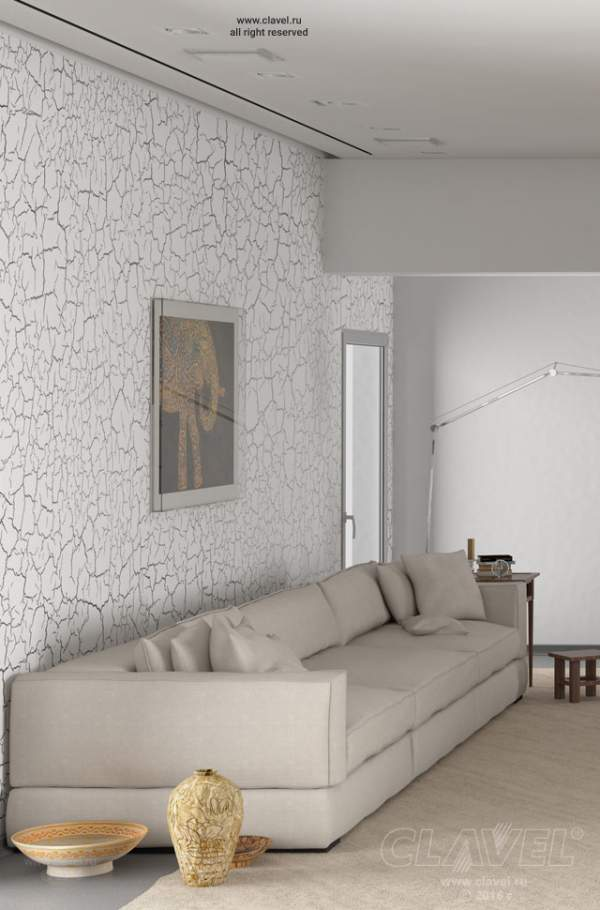Гостиная. Декоративная краска с кракелюрным эффектом