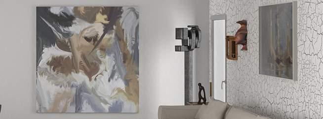 Декоративная краска с кракелюрным эффектом - фото в интерьере. Гостиная