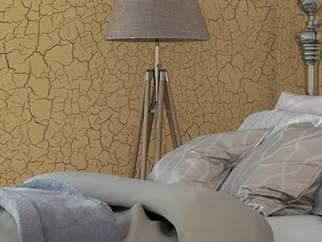 Отделка стен в стиле кракелюрных трещин - фото в интерьере. Спальня